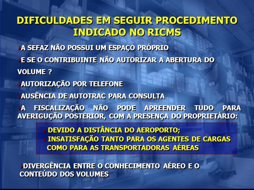 DIFICULDADES EM SEGUIR PROCEDIMENTO INDICADO NO RICMS