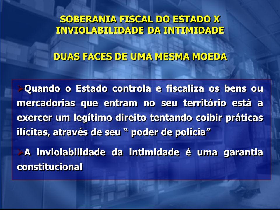 SOBERANIA FISCAL DO ESTADO X INVIOLABILIDADE DA INTIMIDADE