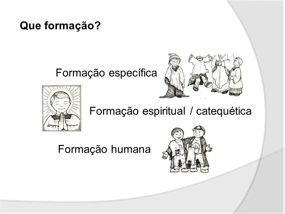Que formação Formação específica Formação espiritual / catequética Formação humana