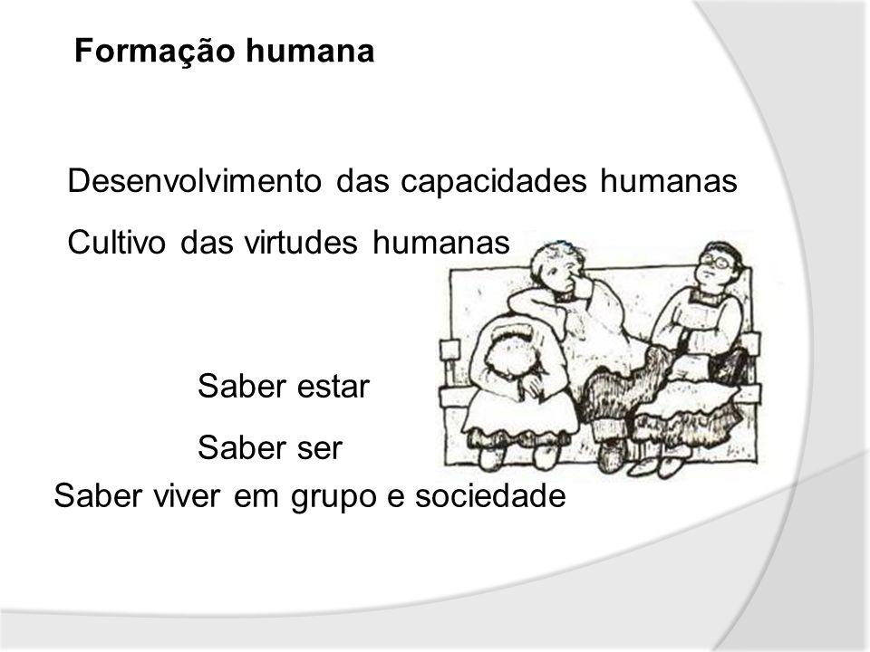 Formação humana Desenvolvimento das capacidades humanas. Cultivo das virtudes humanas. Saber estar.