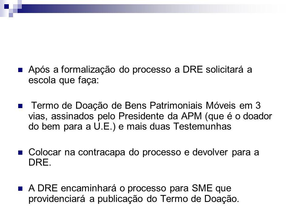 Após a formalização do processo a DRE solicitará a escola que faça: