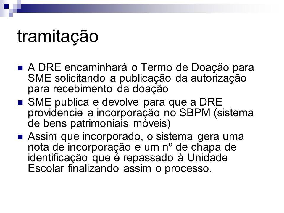 tramitação A DRE encaminhará o Termo de Doação para SME solicitando a publicação da autorização para recebimento da doação.