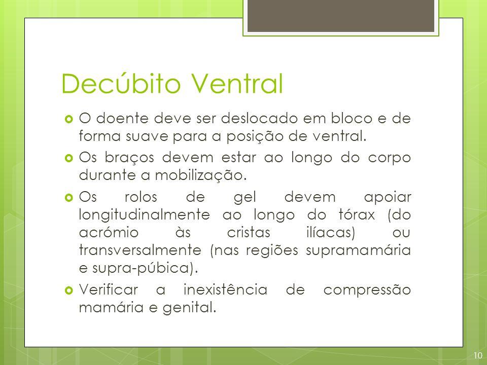 Decúbito Ventral O doente deve ser deslocado em bloco e de forma suave para a posição de ventral.