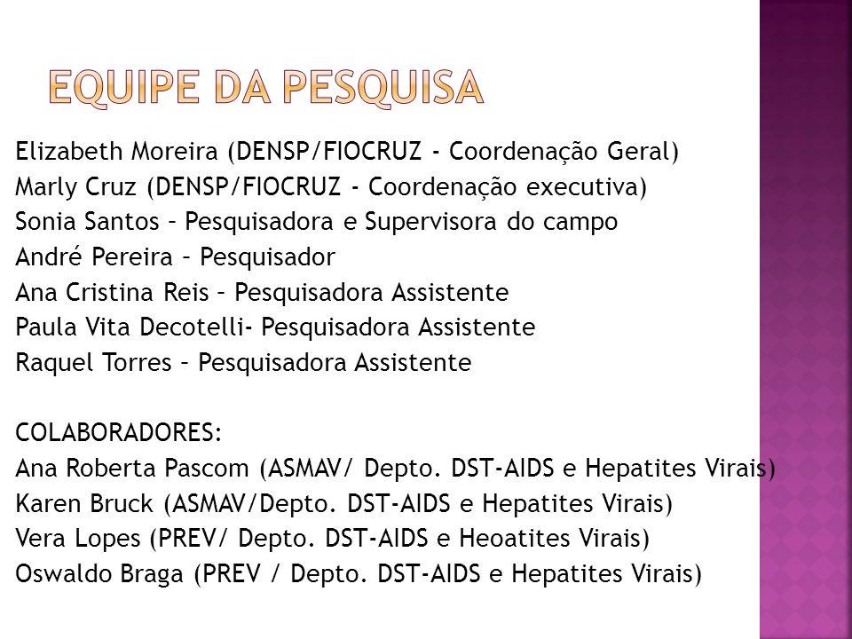 Equipe da pesquisa Elizabeth Moreira (DENSP/FIOCRUZ - Coordenação Geral) Marly Cruz (DENSP/FIOCRUZ - Coordenação executiva)