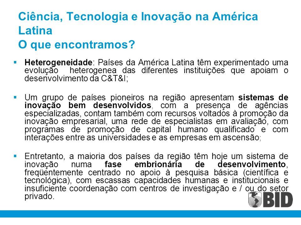 Ciência, Tecnologia e Inovação na América Latina O que encontramos
