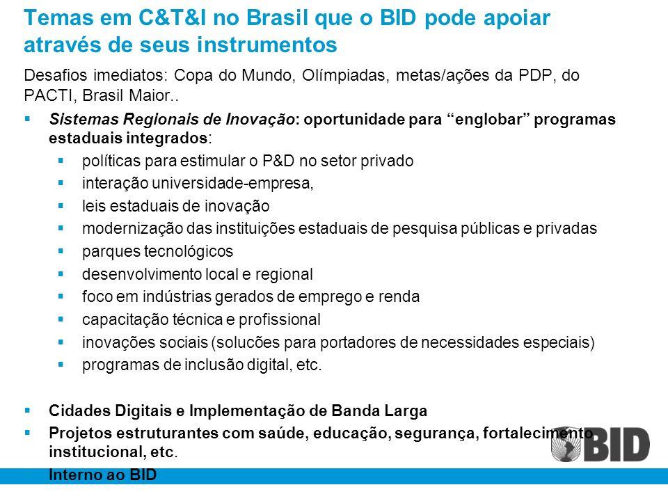 Temas em C&T&I no Brasil que o BID pode apoiar através de seus instrumentos