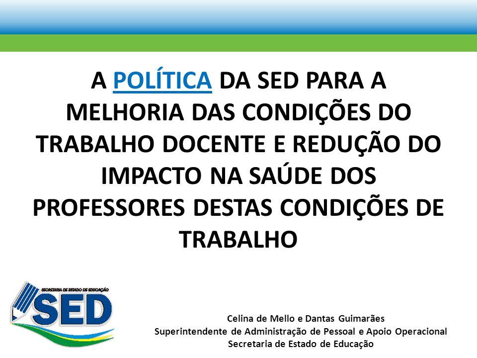 A POLÍTICA DA SED PARA A MELHORIA DAS CONDIÇÕES DO TRABALHO DOCENTE E REDUÇÃO DO IMPACTO NA SAÚDE DOS PROFESSORES DESTAS CONDIÇÕES DE TRABALHO Celina de Mello e Dantas Guimarães Superintendente de Administração de Pessoal e Apoio Operacional Secretaria de Estado de Educação