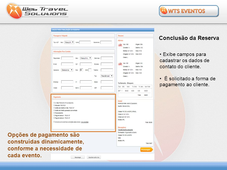 Conclusão da Reserva Exibe campos para cadastrar os dados de contato do cliente. É solicitado a forma de pagamento ao cliente.