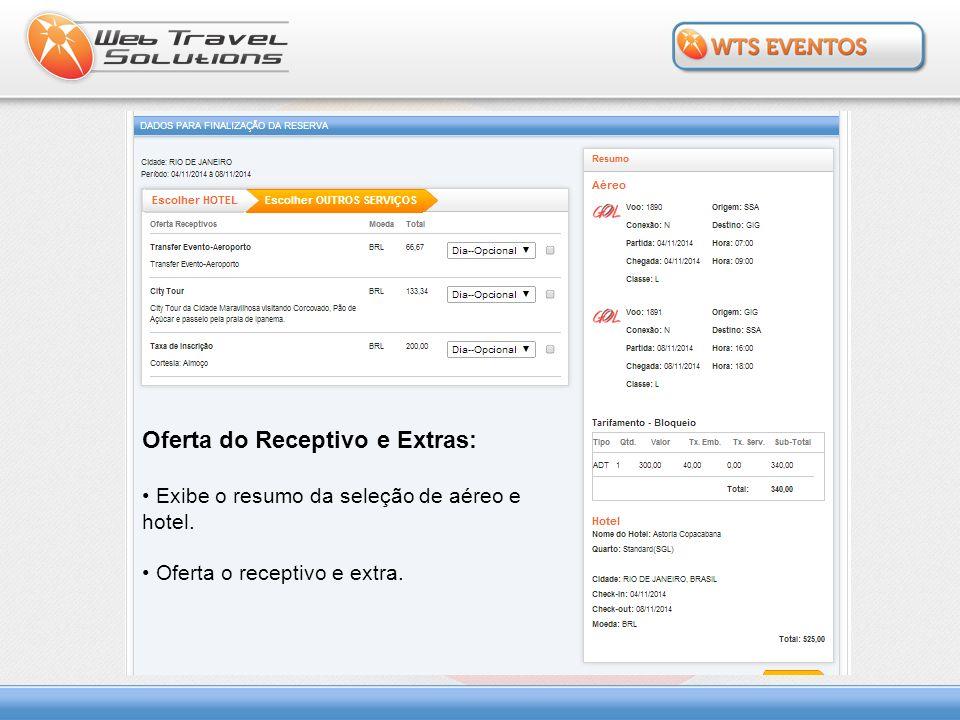Oferta do Receptivo e Extras: