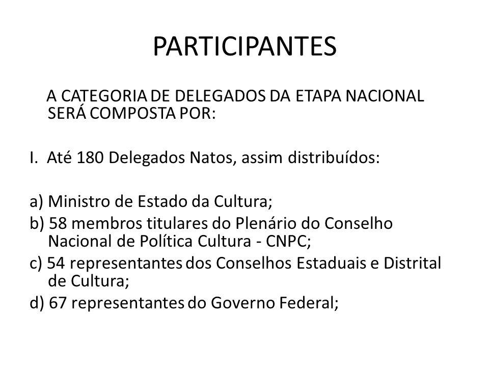 PARTICIPANTES A CATEGORIA DE DELEGADOS DA ETAPA NACIONAL SERÁ COMPOSTA POR: I. Até 180 Delegados Natos, assim distribuídos: