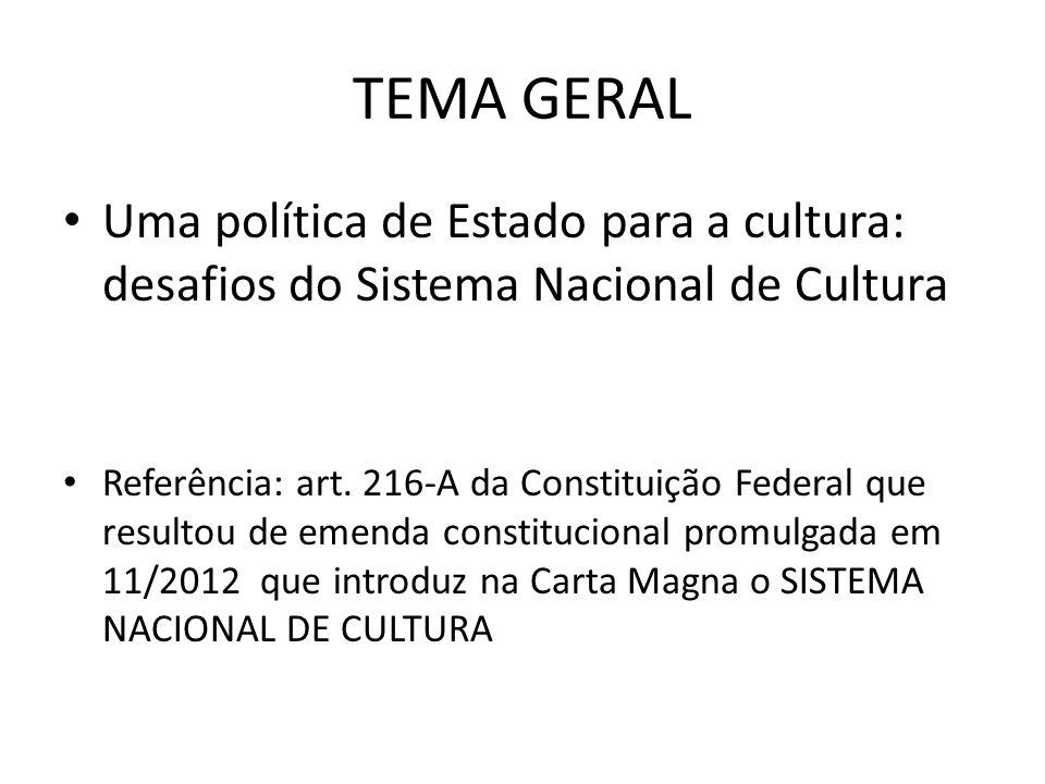 TEMA GERAL Uma política de Estado para a cultura: desafios do Sistema Nacional de Cultura.