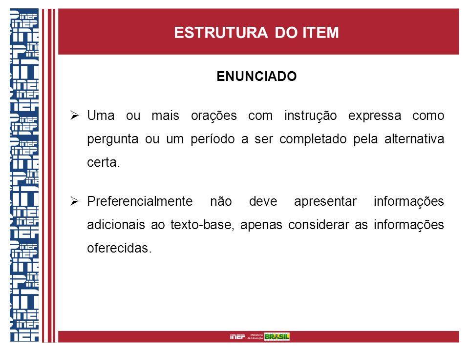 ESTRUTURA DO ITEM ENUNCIADO