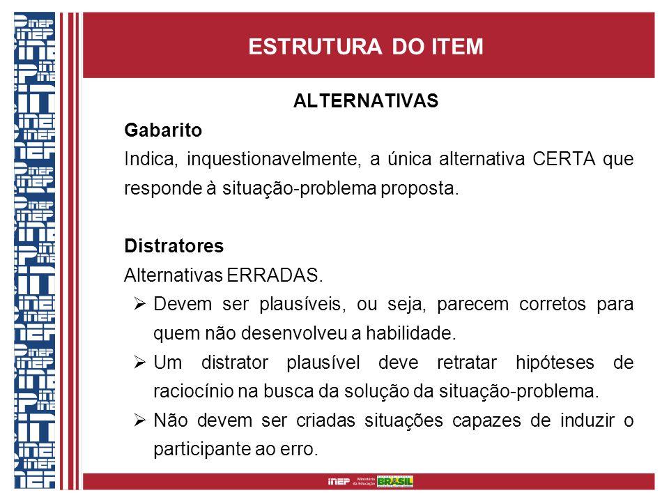 ESTRUTURA DO ITEM ALTERNATIVAS Gabarito