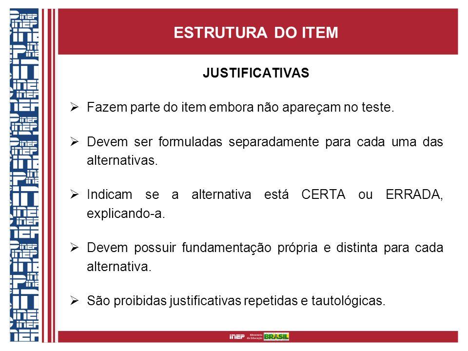 ESTRUTURA DO ITEM JUSTIFICATIVAS
