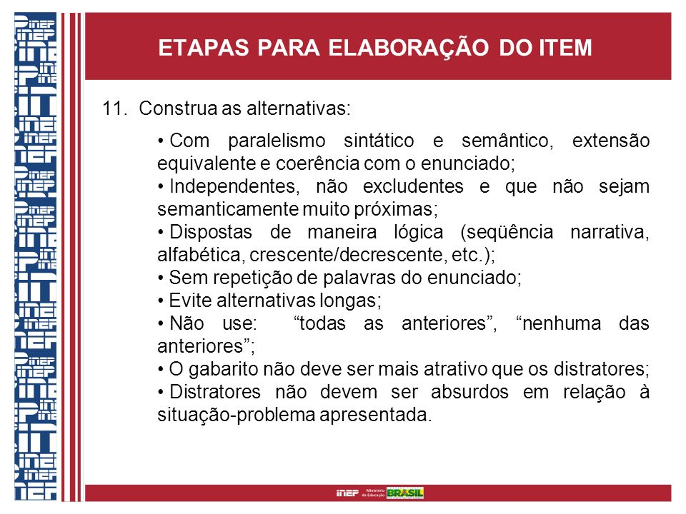 ETAPAS PARA ELABORAÇÃO DO ITEM