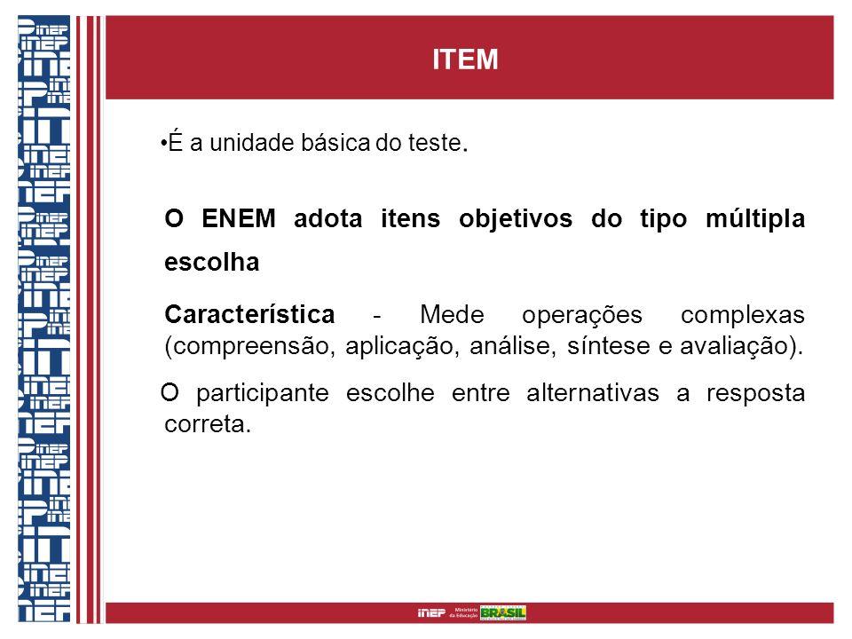 ITEM É a unidade básica do teste. O ENEM adota itens objetivos do tipo múltipla escolha.