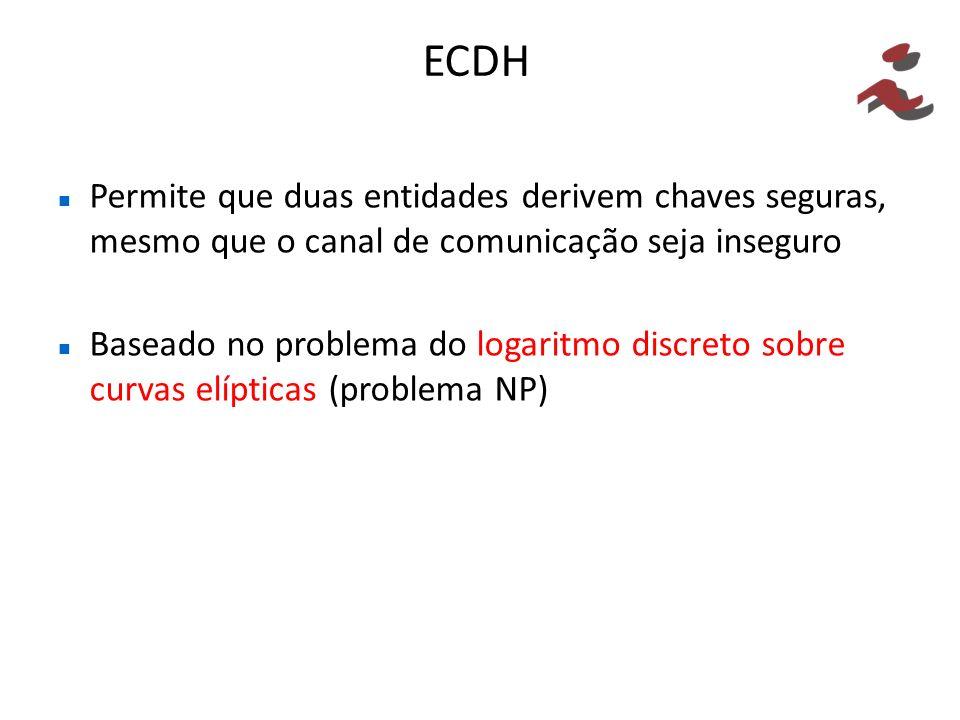 ECDH Permite que duas entidades derivem chaves seguras, mesmo que o canal de comunicação seja inseguro.