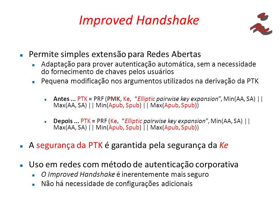 Improved Handshake Permite simples extensão para Redes Abertas