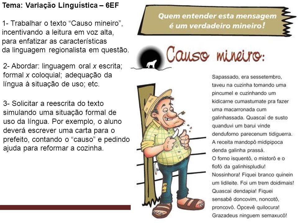 Tema: Variação Linguística – 6EF