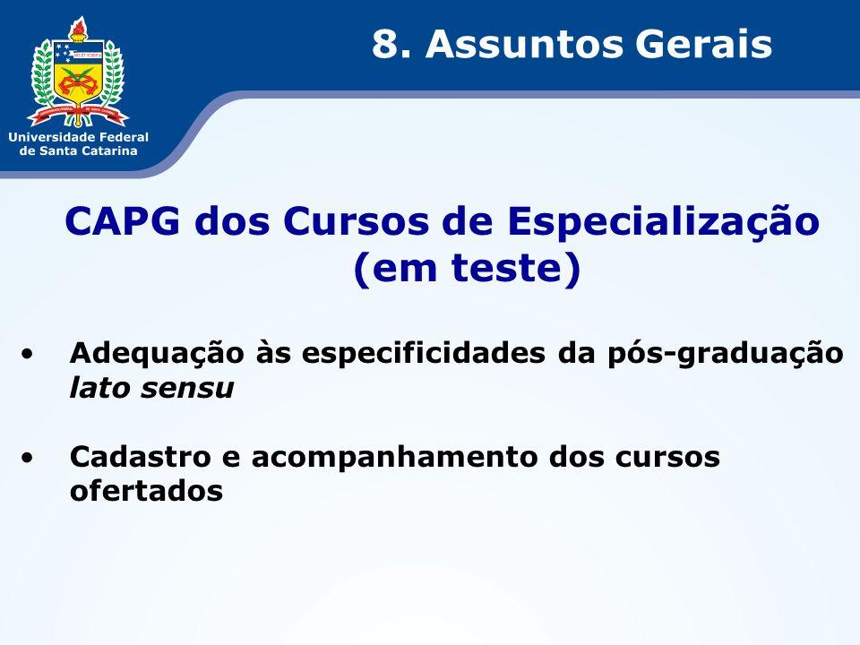 CAPG dos Cursos de Especialização (em teste)
