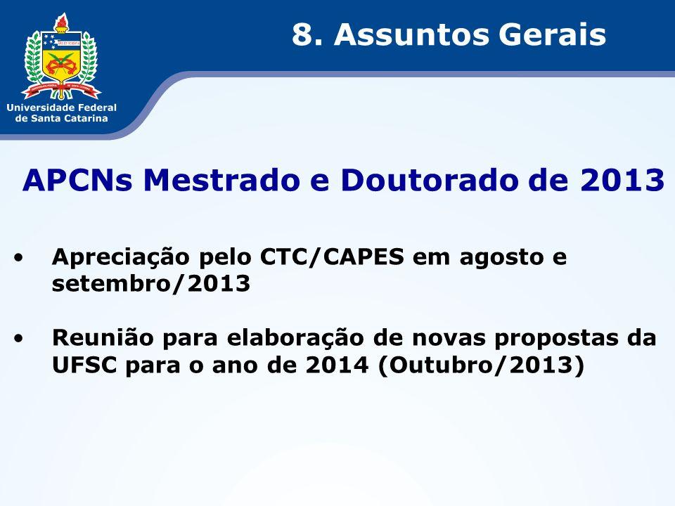 APCNs Mestrado e Doutorado de 2013