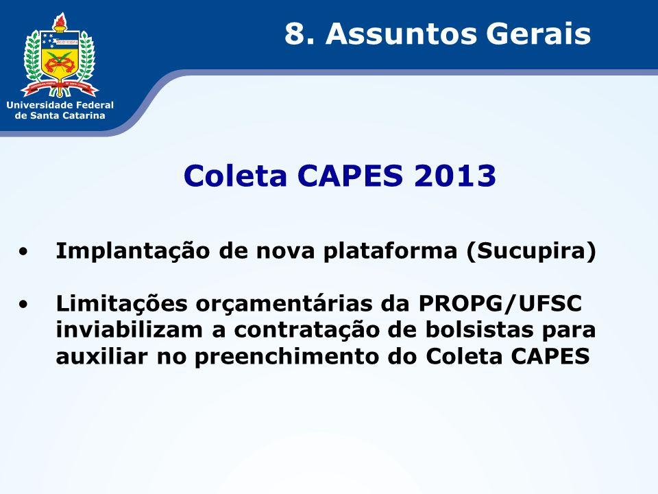 8. Assuntos Gerais Coleta CAPES 2013