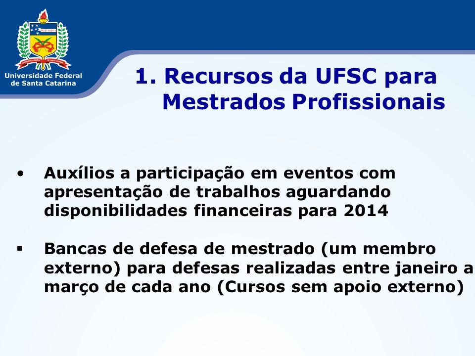 1. Recursos da UFSC para Mestrados Profissionais