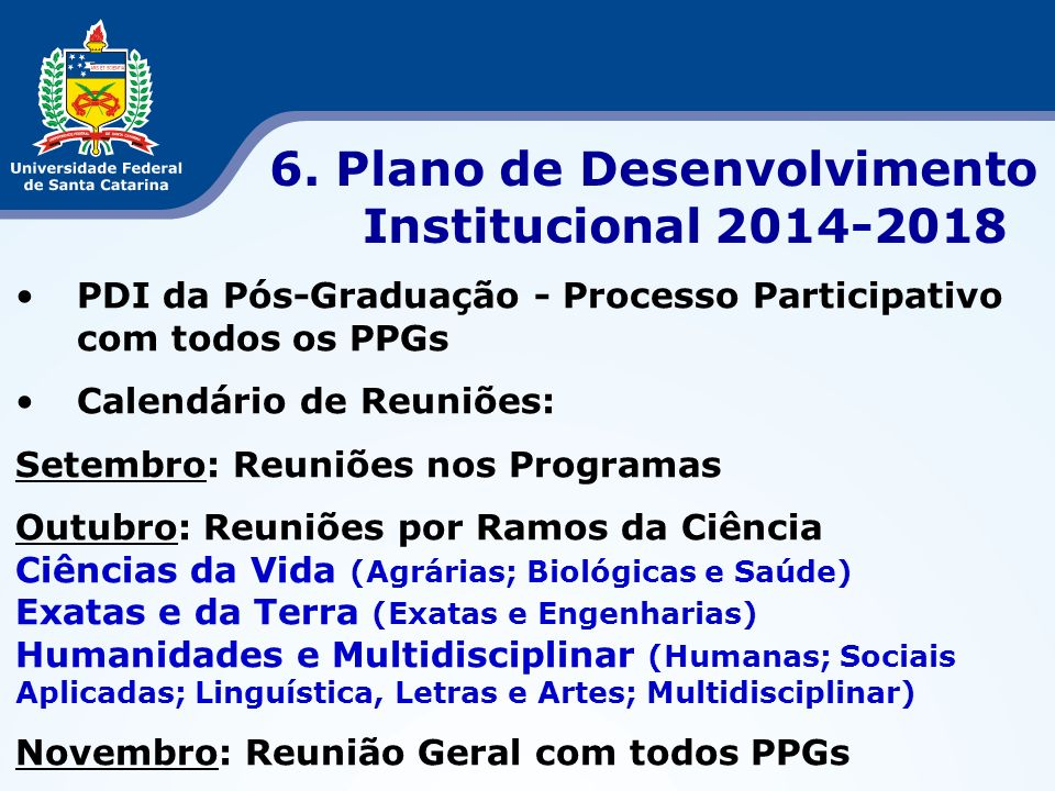6. Plano de Desenvolvimento Institucional 2014-2018
