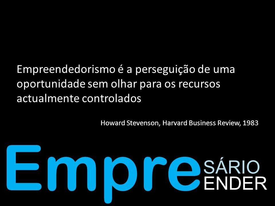 Empreendedorismo é a perseguição de uma oportunidade sem olhar para os recursos actualmente controlados