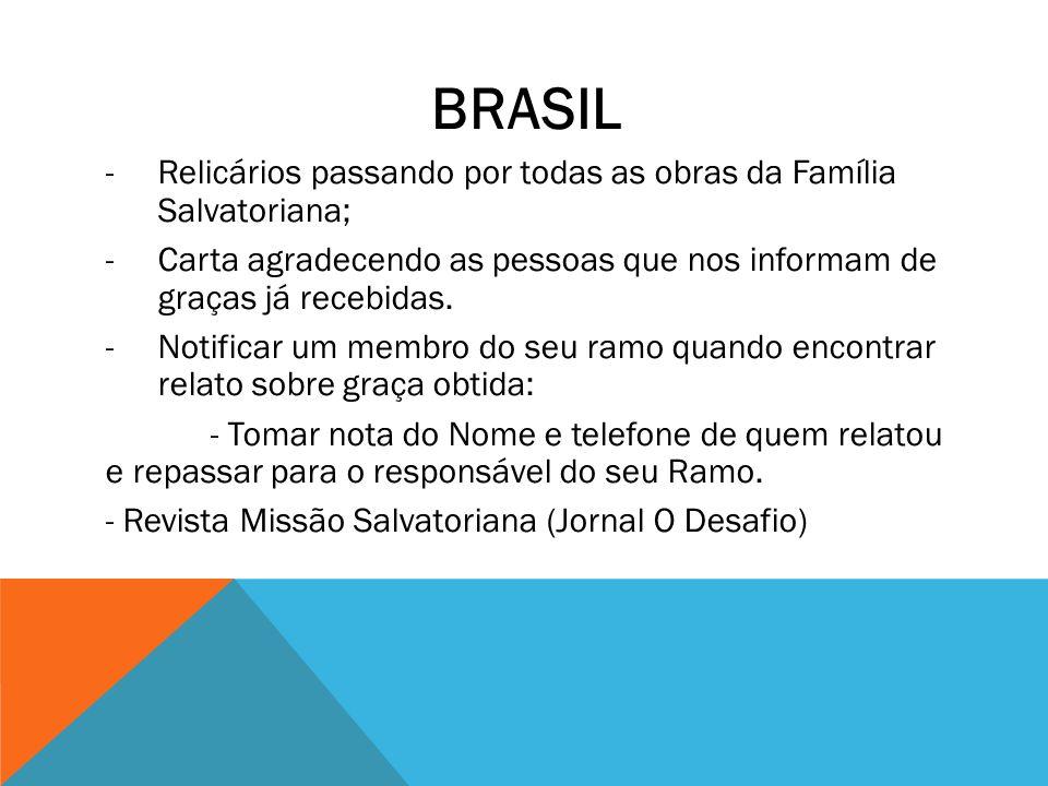 BRASIL Relicários passando por todas as obras da Família Salvatoriana;