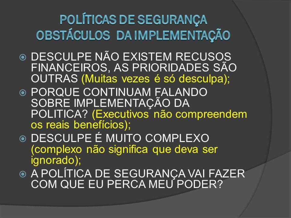 POLÍTICAS DE SEGURANÇA OBSTÁCULOS DA IMPLEMENTAÇÃO