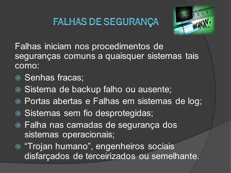 Falhas de segurança Falhas iniciam nos procedimentos de seguranças comuns a quaisquer sistemas tais como: