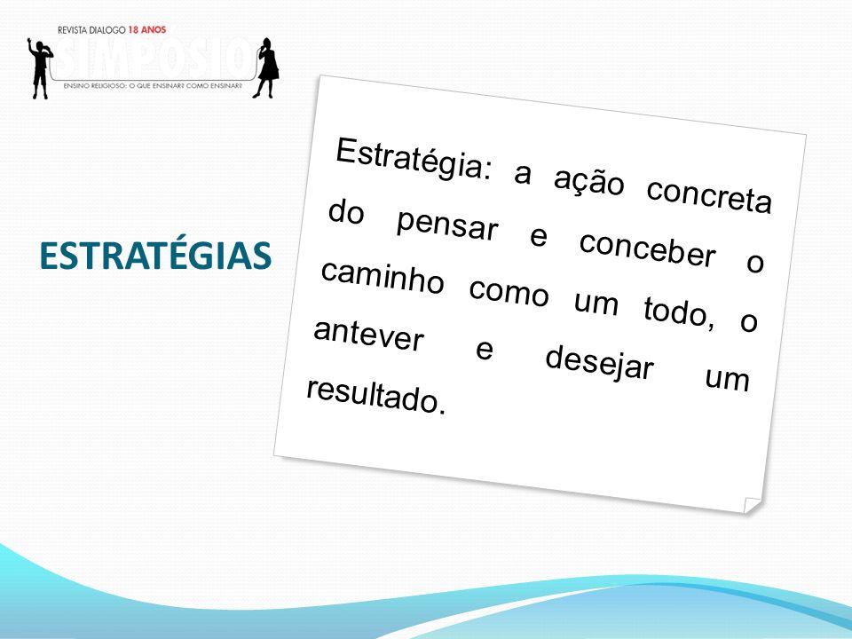 Estratégia: a ação concreta do pensar e conceber o caminho como um todo, o antever e desejar um resultado.