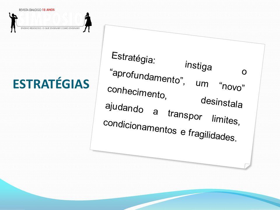 Estratégia: instiga o aprofundamento , um novo conhecimento, desinstala ajudando a transpor limites, condicionamentos e fragilidades.