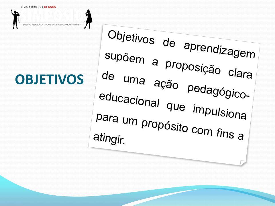 Objetivos de aprendizagem supõem a proposição clara de uma ação pedagógico-educacional que impulsiona para um propósito com fins a atingir.
