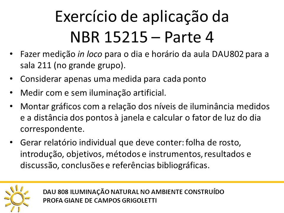 Exercício de aplicação da NBR 15215 – Parte 4