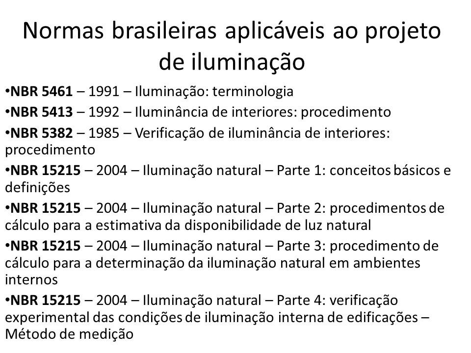 Normas brasileiras aplicáveis ao projeto de iluminação