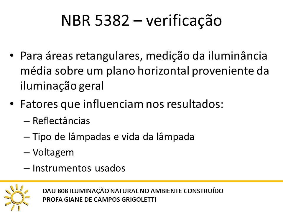 NBR 5382 – verificação Para áreas retangulares, medição da iluminância média sobre um plano horizontal proveniente da iluminação geral.