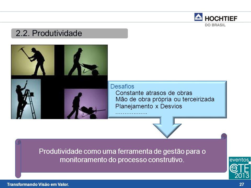 2.2. Produtividade Desafios. Constante atrasos de obras. Mão de obra própria ou terceirizada. Planejamento x Desvios.