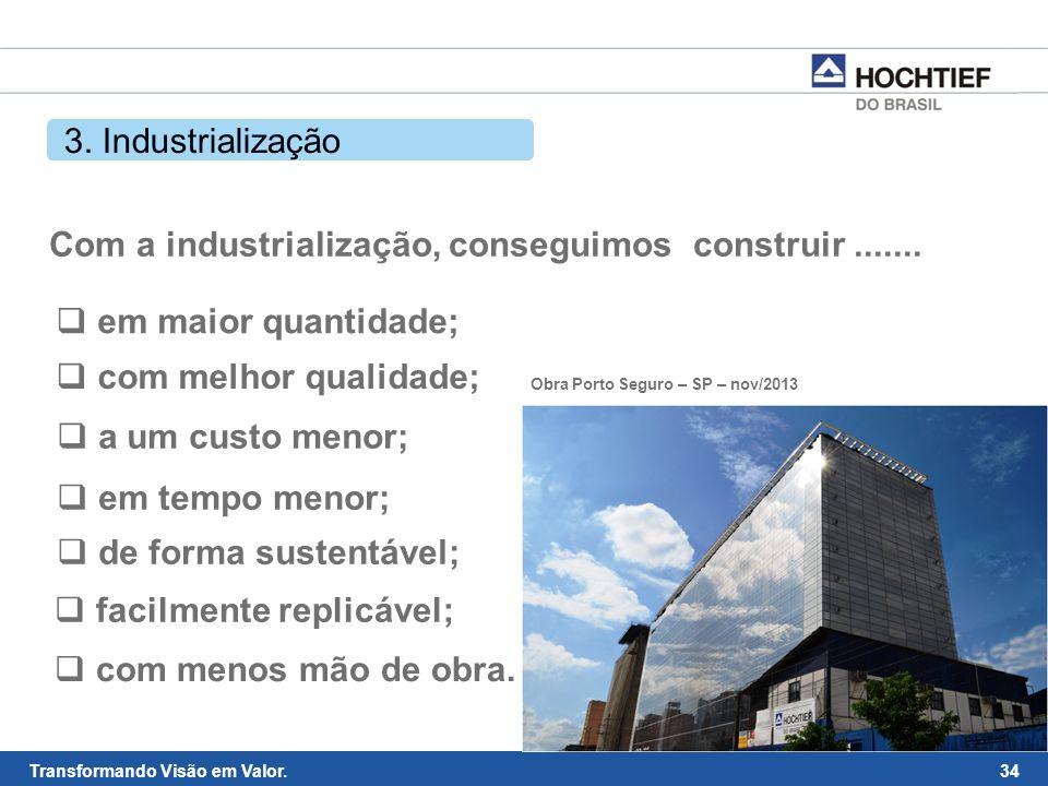 Com a industrialização, conseguimos construir .......
