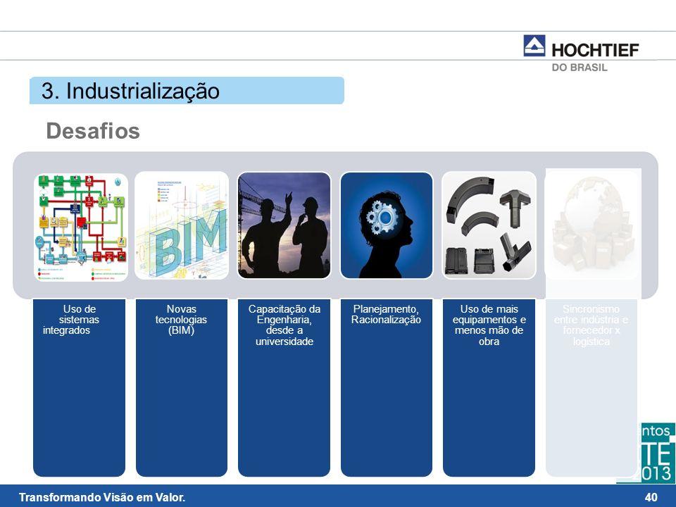 3. Industrialização Desafios Uso de sistemas integrados