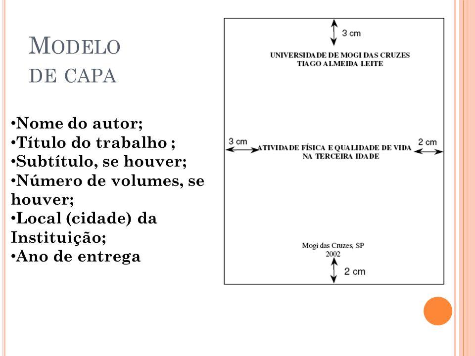 Modelo de capa Nome do autor; Título do trabalho ;