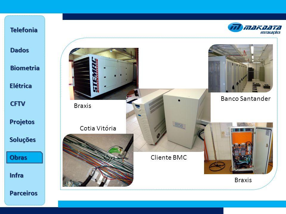 Telefonia Dados. Biometria. Elétrica. Banco Santander. CFTV. Braxis. Projetos. Cotia Vitória.
