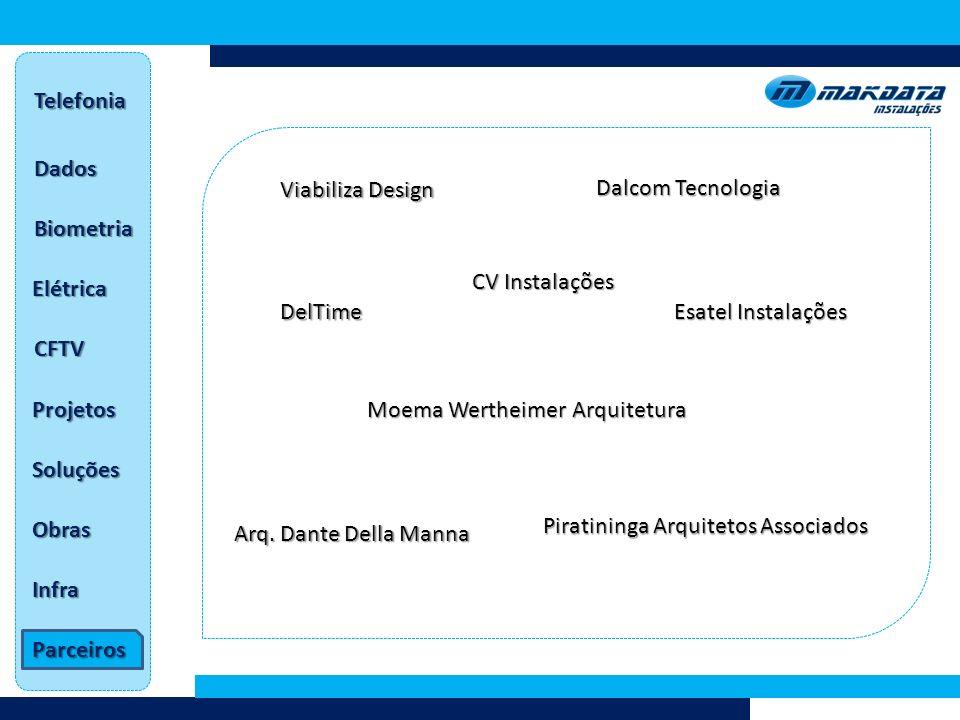 Telefonia Dados. Viabiliza Design. Dalcom Tecnologia. Biometria. CV Instalações. Elétrica. DelTime.