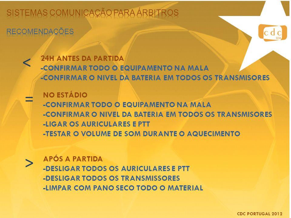 < = > Sistemas comunicação para árbitros 24H ANTES DA PARTIDA