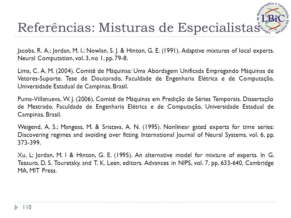 Referências: Misturas de Especialistas
