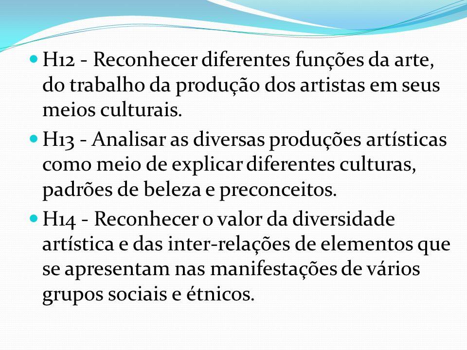 H12 - Reconhecer diferentes funções da arte, do trabalho da produção dos artistas em seus meios culturais.