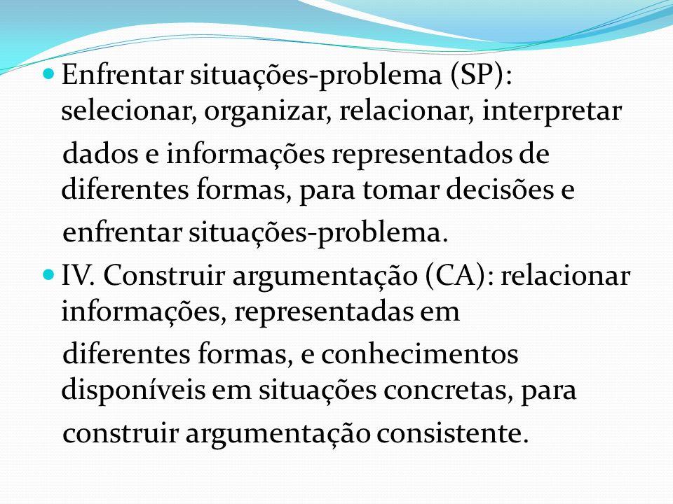Enfrentar situações-problema (SP): selecionar, organizar, relacionar, interpretar