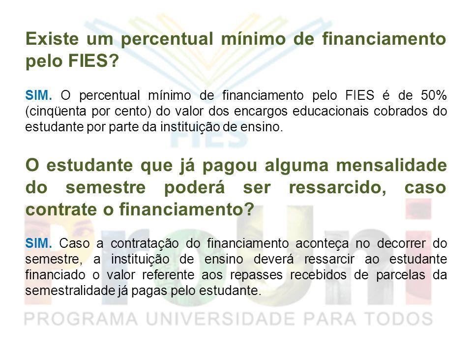 Existe um percentual mínimo de financiamento pelo FIES