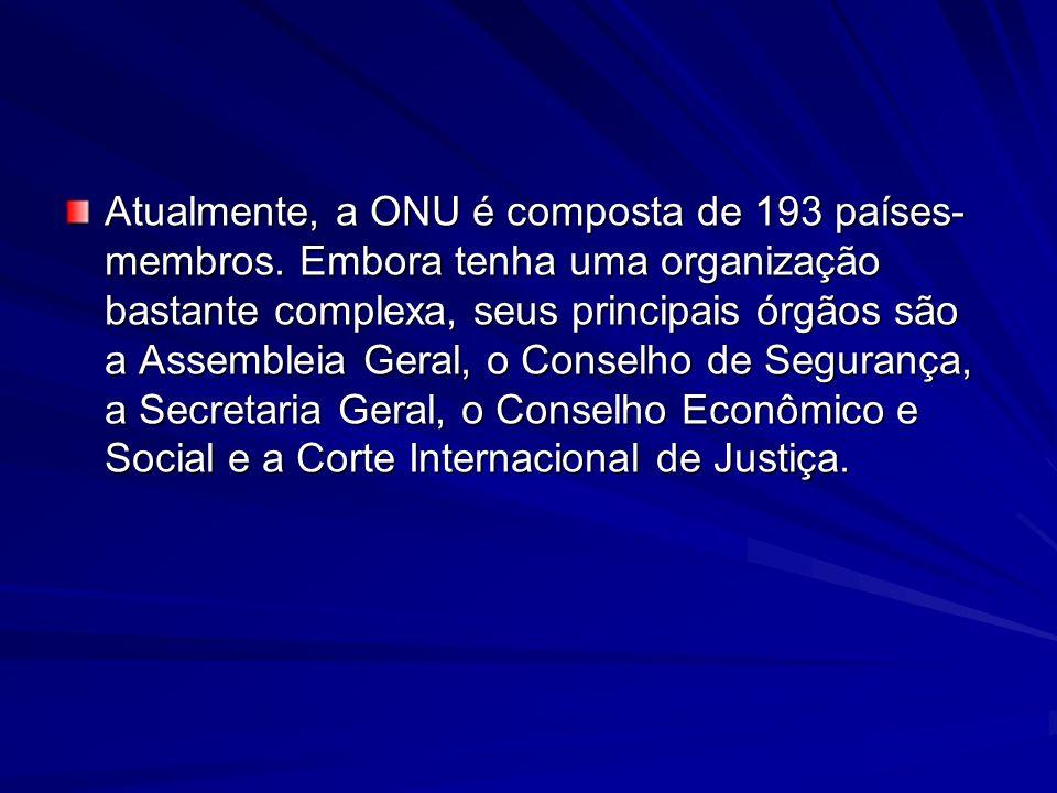 Atualmente, a ONU é composta de 193 países-membros